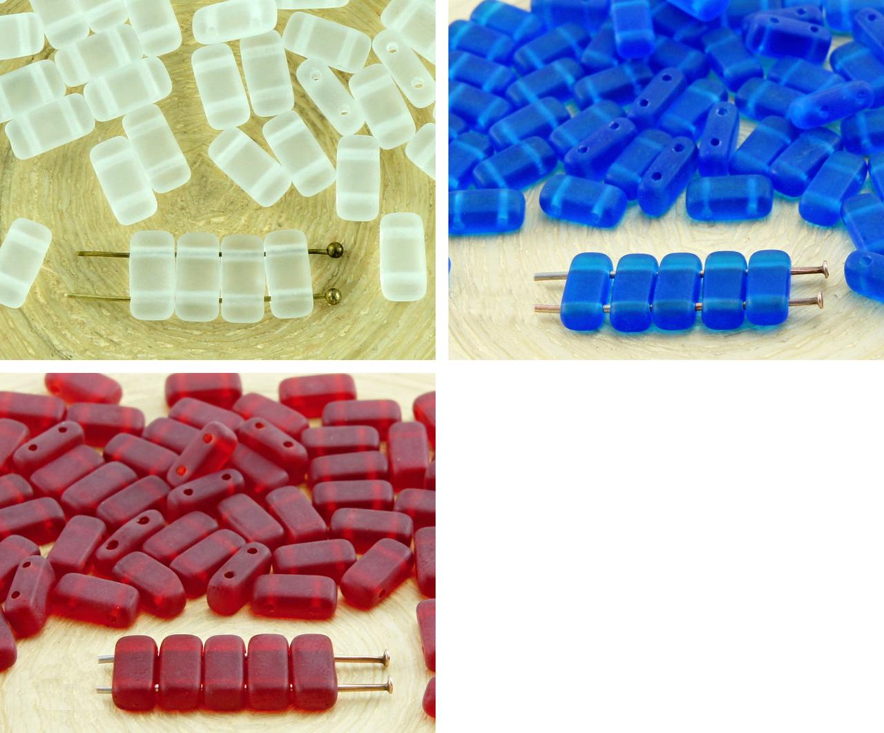 40pcs Matte Crystal Frosted Sea Glass Flat Bricks Rectangle Bar 2 Two Hole Czech Beads 8mm X 4mm для $ 2.61 из Czech Beads Exclusive