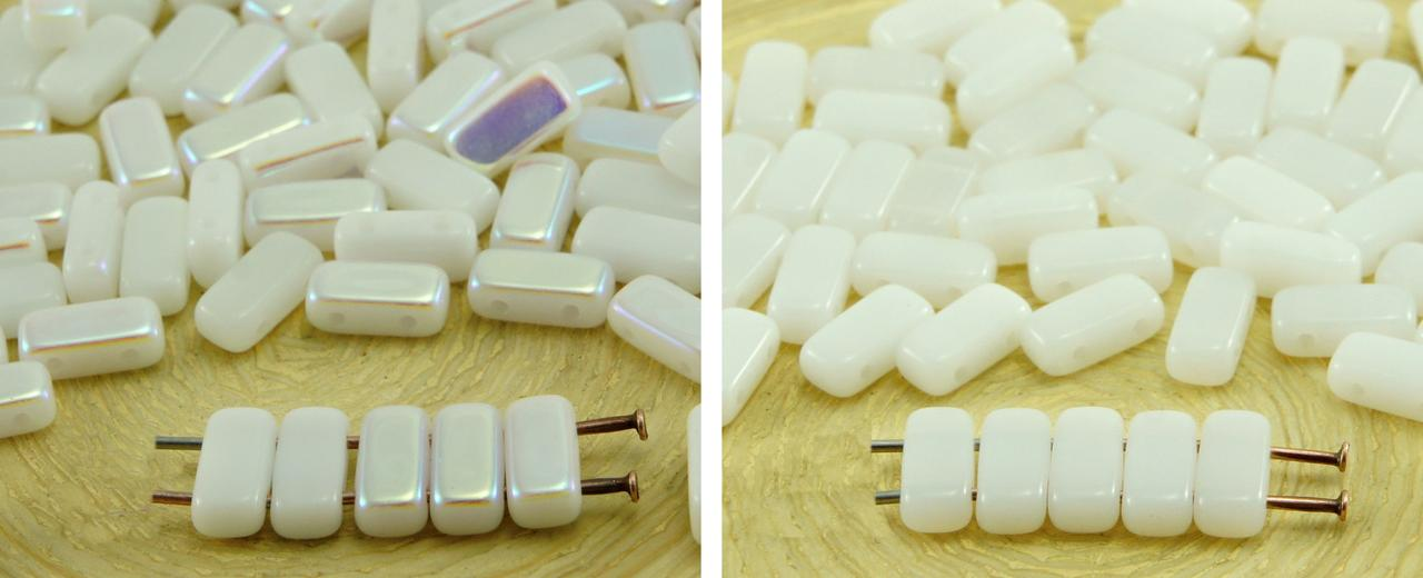 40pcs White Alabaster Flat Bricks Rectangle Bar 2 Two Hole Czech Glass Beads 8mm X 4mm for $2.95 from Czech Beads Exclusive
