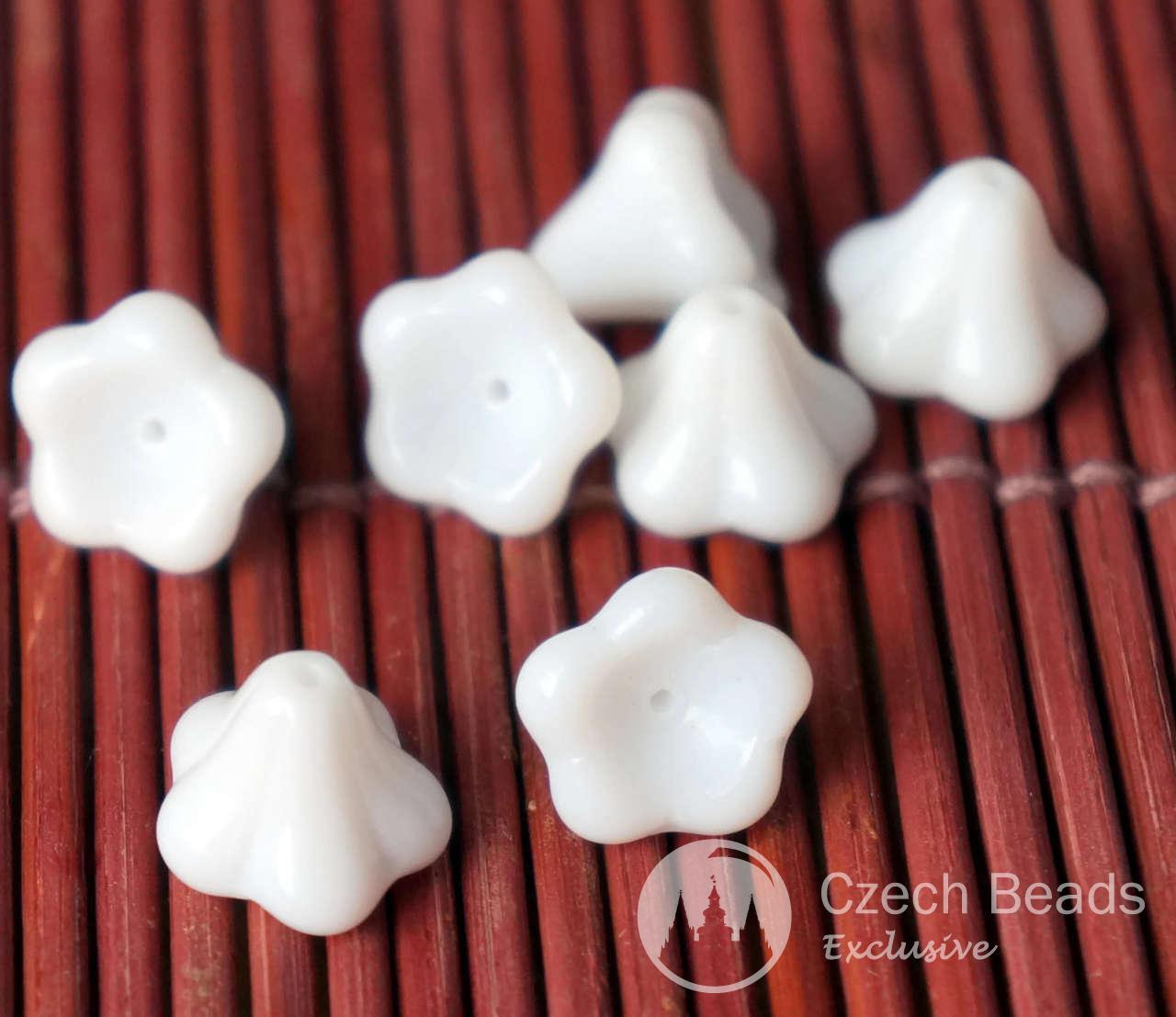 Large Opaque White Bell Flower Czech Glass Beads Bohemian 10mm x 13mm 8pcs