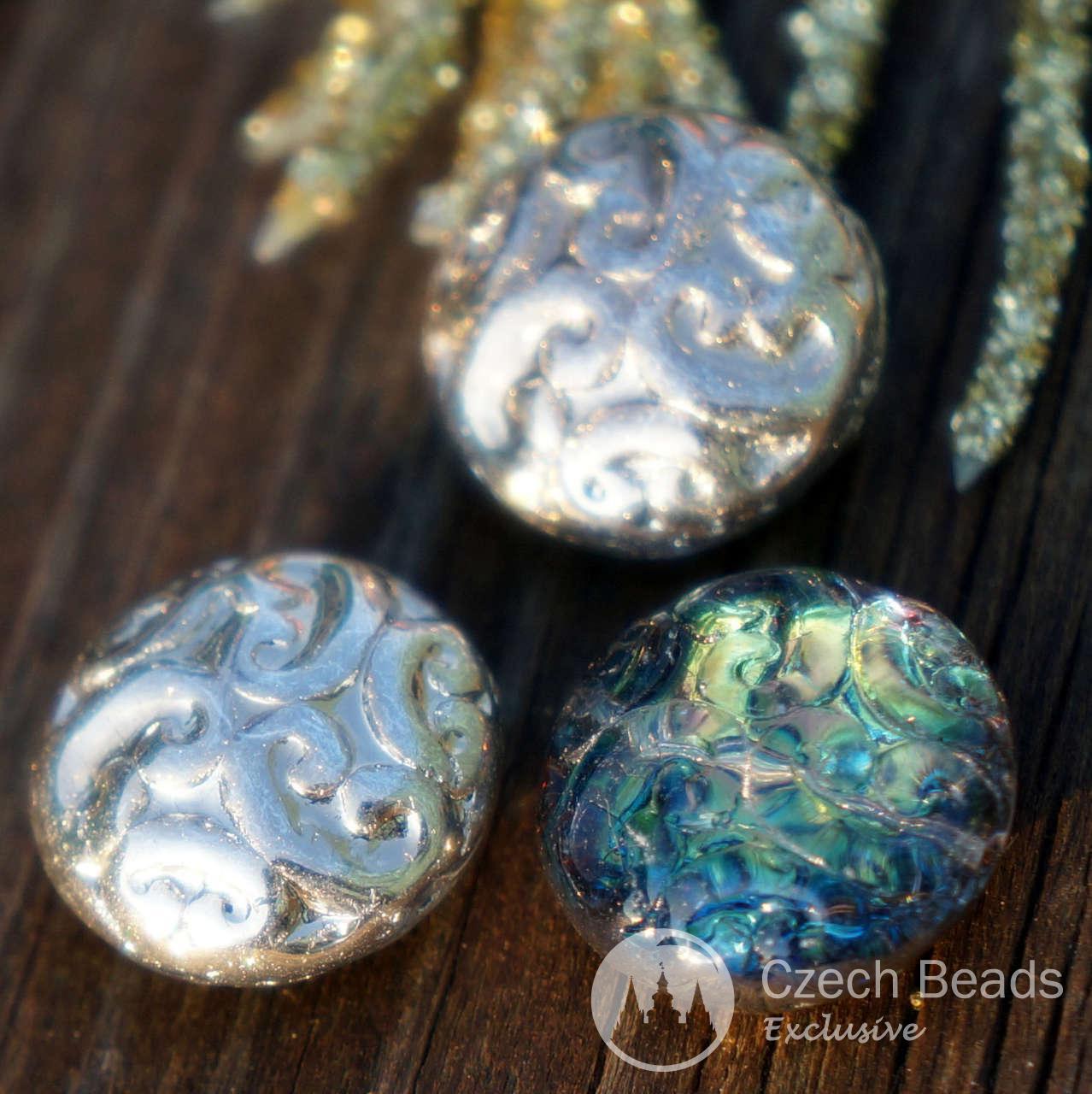 Silber Grün Tschechische Glas, Flache Runde Geschnitzt Münze Perlen Tablet-Form böhmischen 13mm 10er für $ 2.42 von Czech Beads Exclusive