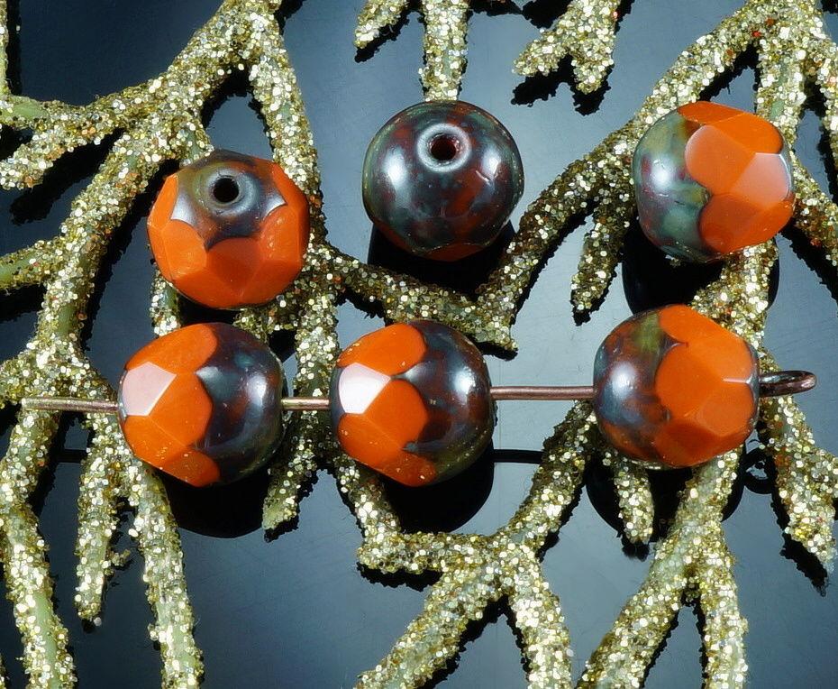 Picasso Orange Brun Gland Ovale, Larme, Facettes en Verre tchèque Perles de 8mm 20pcs pour $ 2.75 à partir de Czech Beads Exclusive