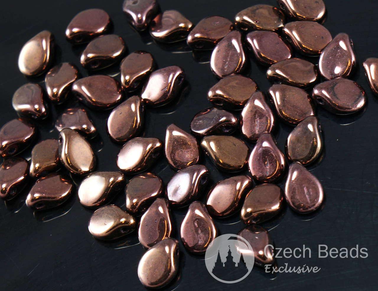 60шт непрозрачный металлик бронзовый Пип бусины чешские стеклянные прессованные бусины Прециоза плоский лепесток цветка 5мм х 7мм для $ 4.03 из Czech Beads Exclusive