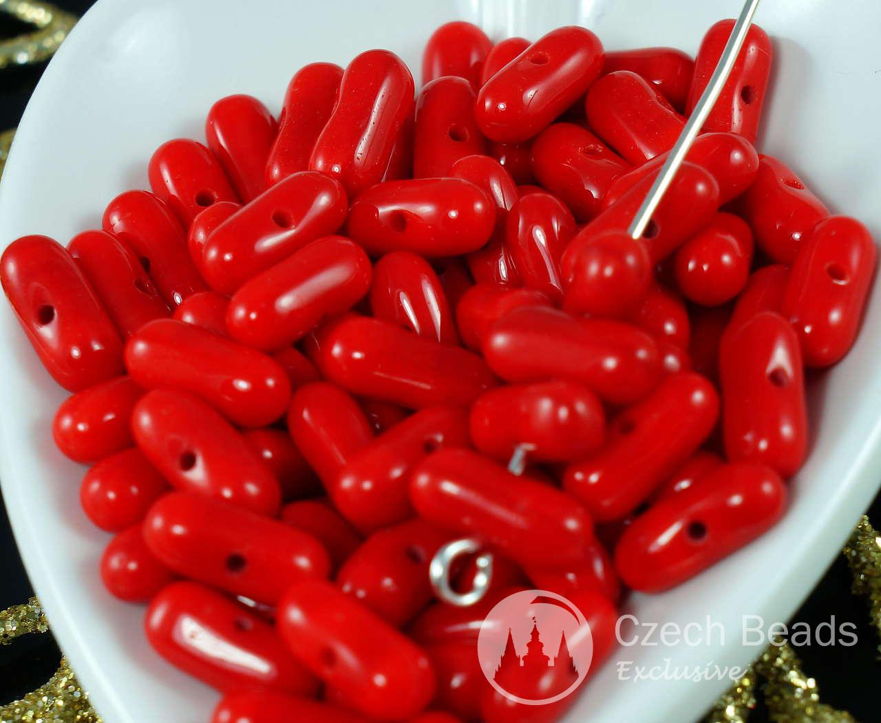 Opaque Red Czech Glass Oblong Oval Spacer Farfalle Peanut Beads 9mm x 4mm 60pcs