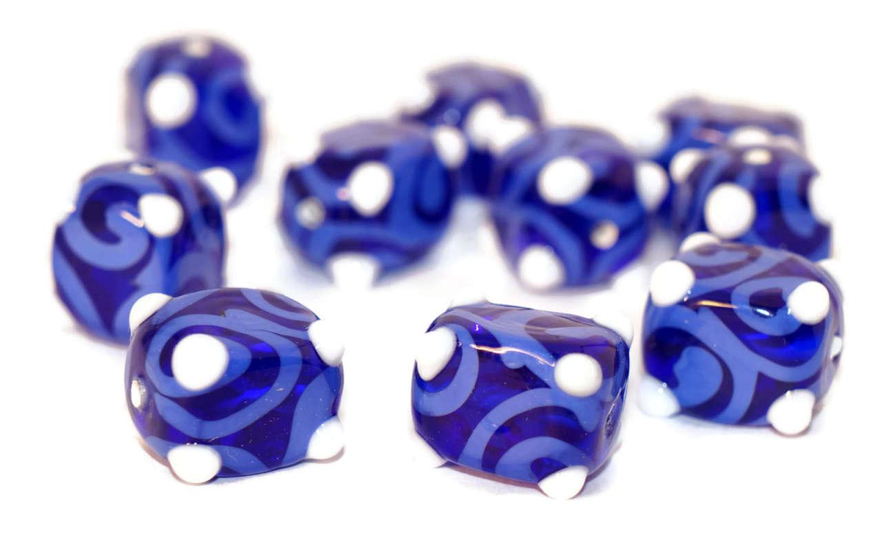 Blue White Gzhel Czech Glass Lampwork Handmade Beads Rectangle Tube Curl Beads 13mm x 10mm 2pc