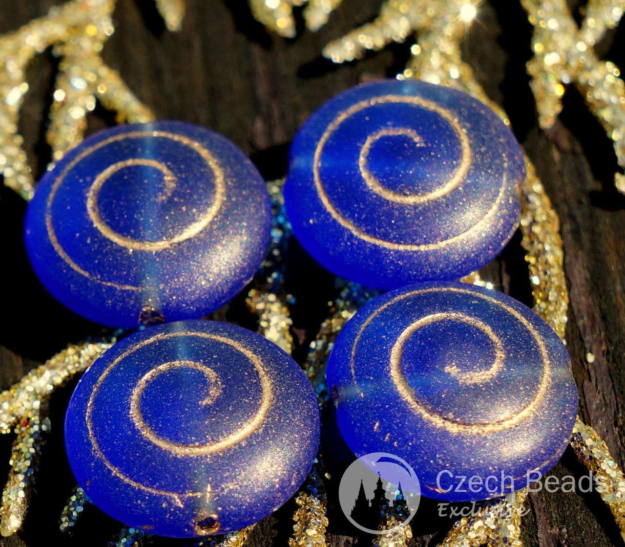 Blu opaco Oro Spirale di Perle di Vetro ceco Nautilus Perle di Vetro Ammonita Cordone di Ammonite Fossile Cordone di Conchiglia di Perle di Conchiglia Nautilus 13mm 4pc per $ 1.84 da Czech Beads Exclusive