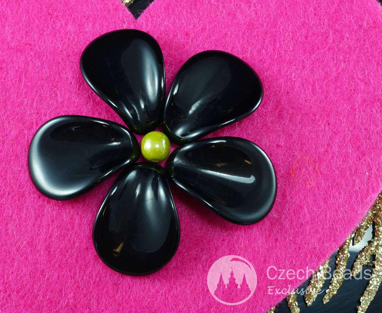Extra Large Opaque Black Czech Glass Flower Petal Beads 22mm x 16mm 10pcs
