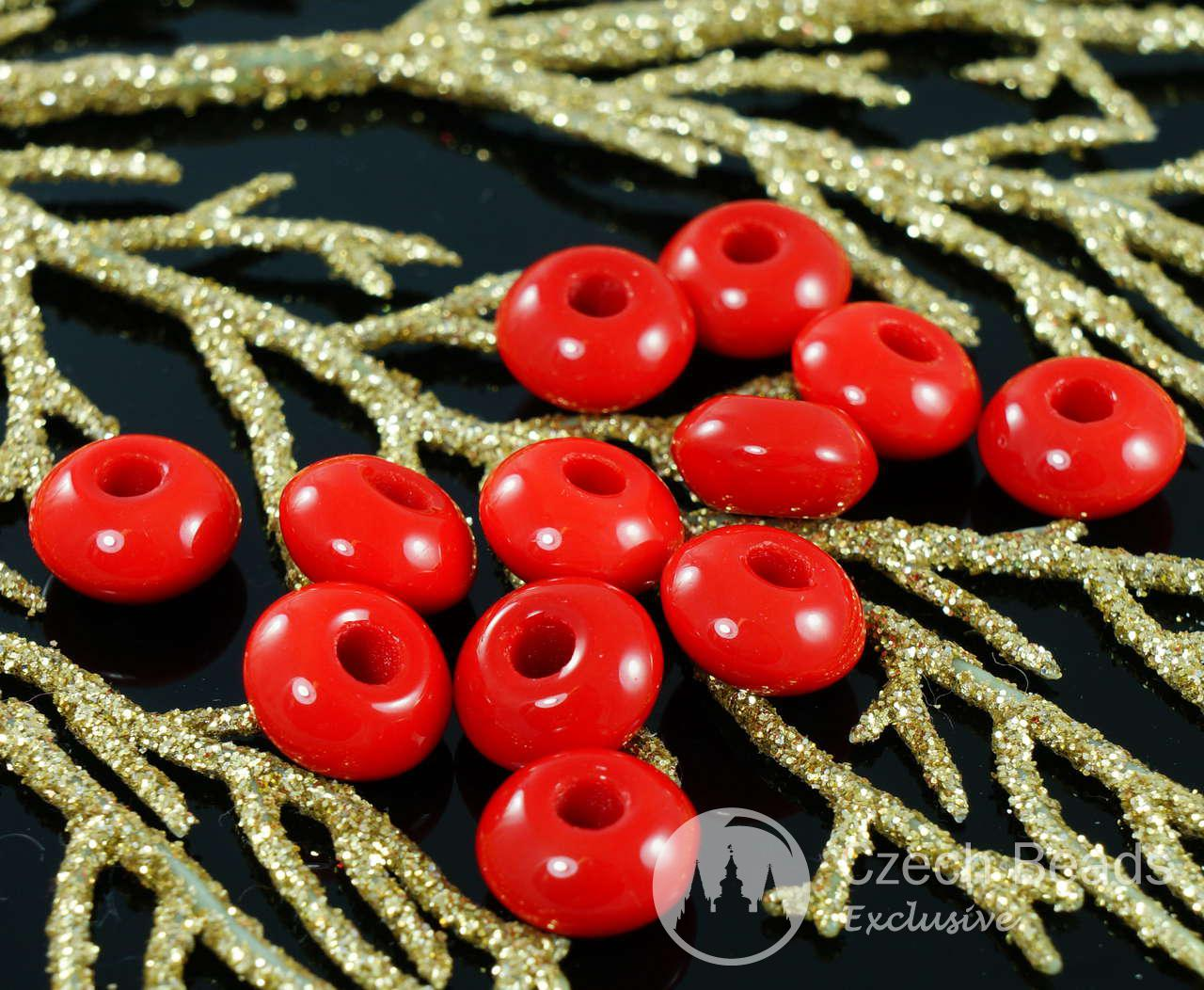 Red Large Hole Roller Pony Ring Crow Beads 11mm x 6mm 10pcs for $2.25 from Czech Beads Exclusive