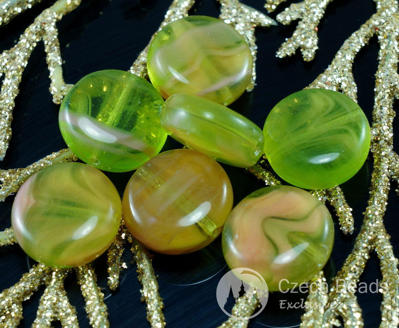 Picasso Green Crystal Czech Glass Flat Round Coin Beads Tablet Shape 12mm 16pcs for $2.31 from Czech Beads Exclusive