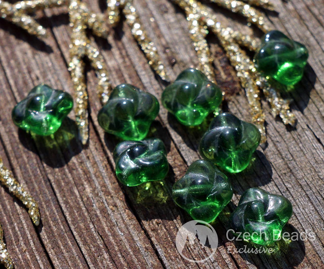 Clear Green Czech Glass Flower Beads Flat Czech Flower Beads Green Czech Flower Beads Glass Flower Bead Bohemian Carved Flower Bead 8mm 20pc for $2.27 from Czech Beads Exclusive