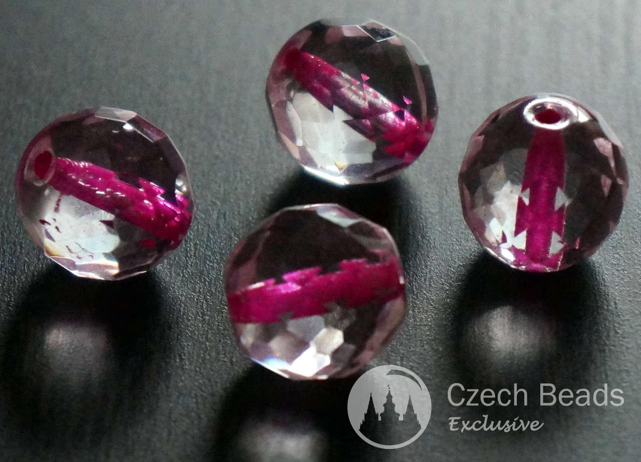 Faceted Pink Clear Crystal Large Round Czech Glass Beads Pink Clear Faceted Large Beads Crystal Clear Beads Czech Beads 14mm 2pc for $2.27 from Czech Beads Exclusive