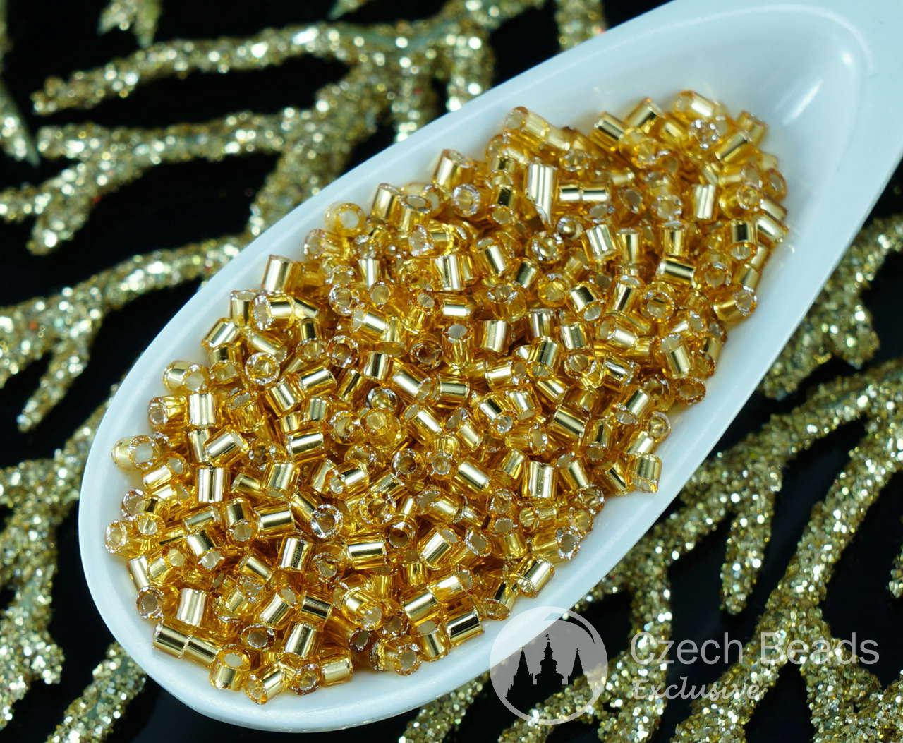 20g Yellow Gold Silver Lined Czech Glass Tube Seed Beads PRECIOSA Rocaille Spacer 1.7mm Approximately 2002pcs for $2.44 from Czech Beads Exclusive