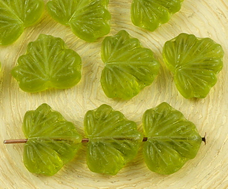 Pcs green czech glass flat maple leaf beads carved mm