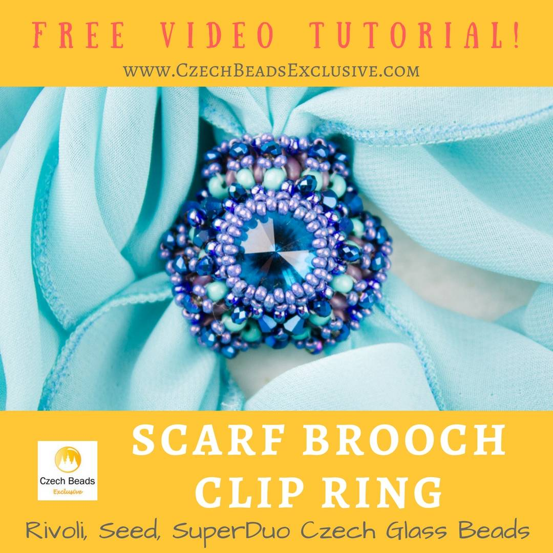 Czech Glass Rivoli, Seed, SuperDuo Beads - Scarf Brooch Clip Ring ...