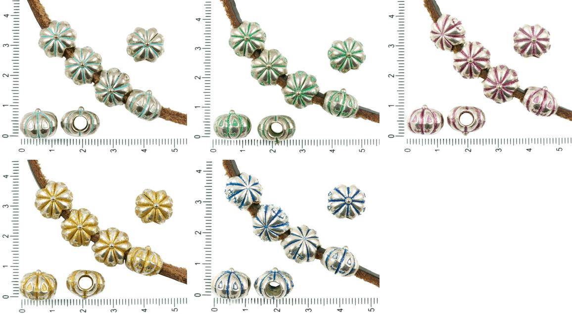 4pcs antique silver tone patina wash large hole european pandora style beads halloween face pumpkin flower
