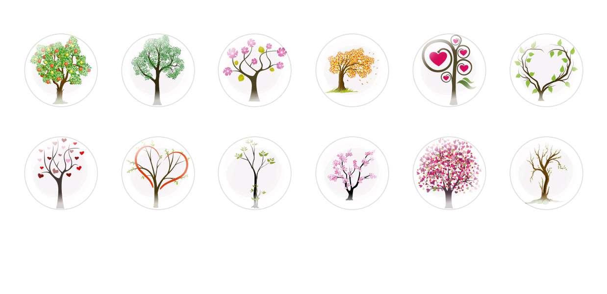 Handmade Round Domed Czech Glass Cabochons Trees 3