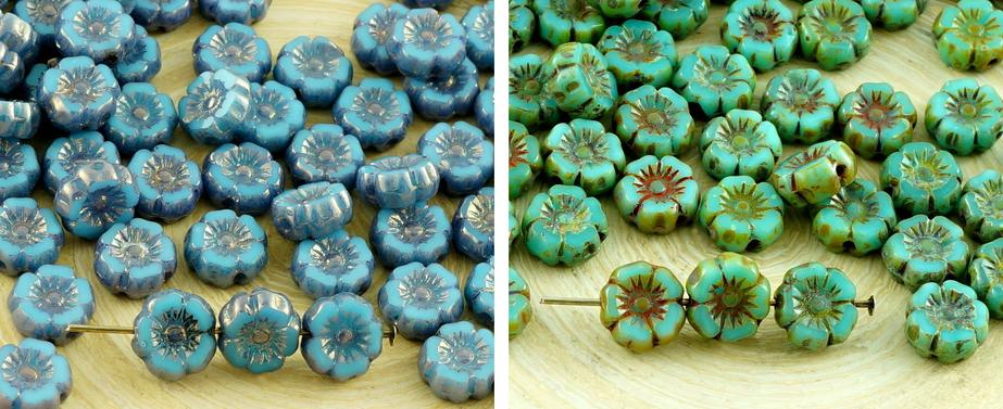New Shape 16pcs Small Rustic Turquoise Blue Table Cut Window Czech Glass Flat Carved Hawaiian Flower Beads Coin 7mm for $2.95 from Czech Beads Exclusive