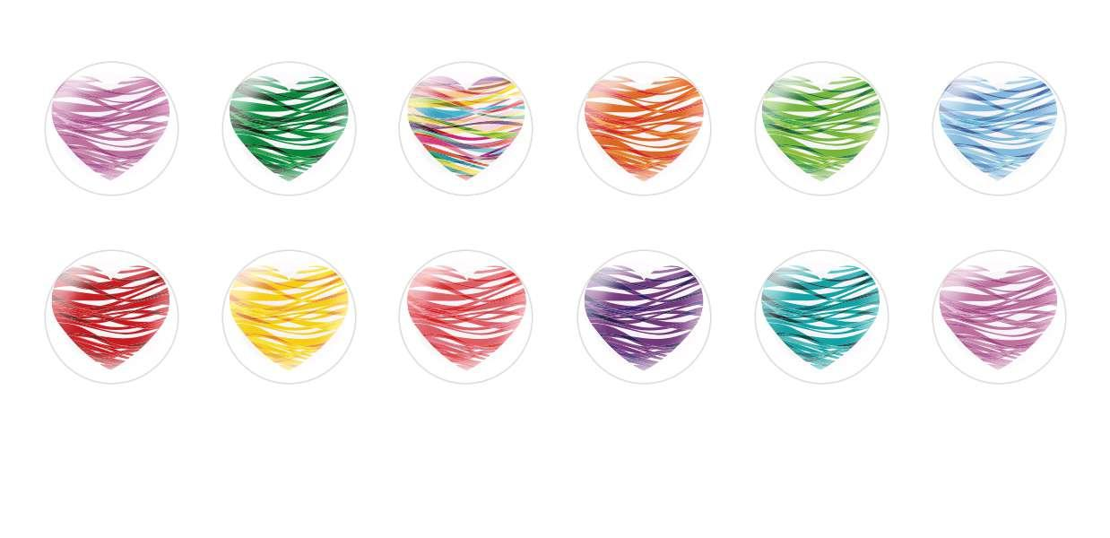 Handmade Round Domed Czech Glass Cabochons Multicolor Hearts Valentine for $7.29 from Czech Beads Exclusive