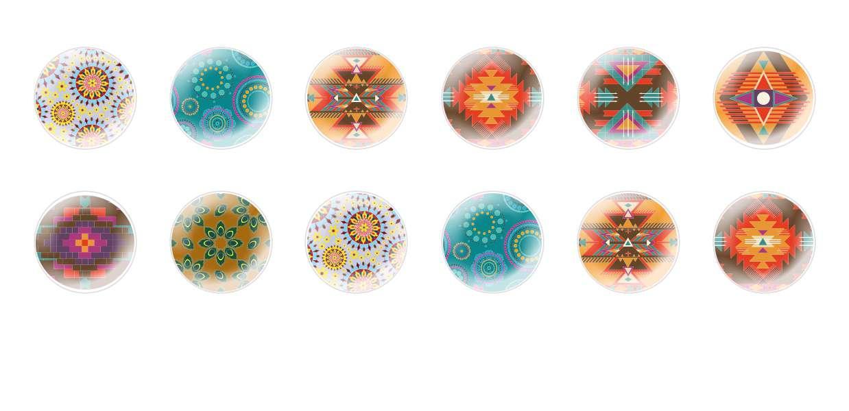 A Mano Rotonda Con Cupola Di Vetro Ceco Cabochon Modelli Mosaico 1 per $ 6.92 da Czech Beads Exclusive