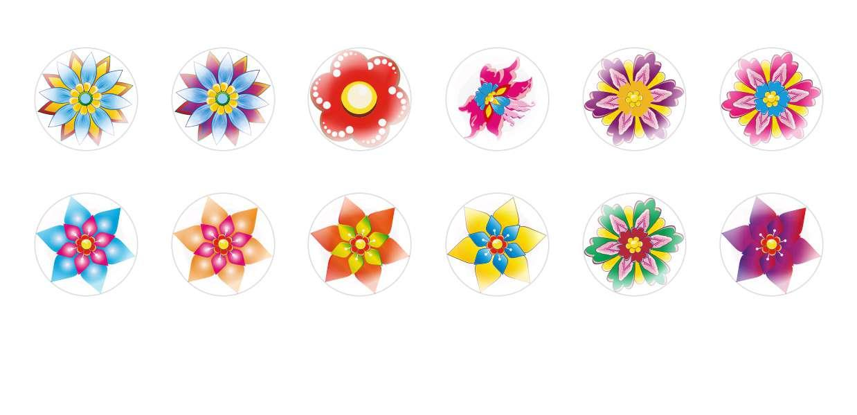 Handmade Round Domed Czech Glass Cabochons Flowers 151
