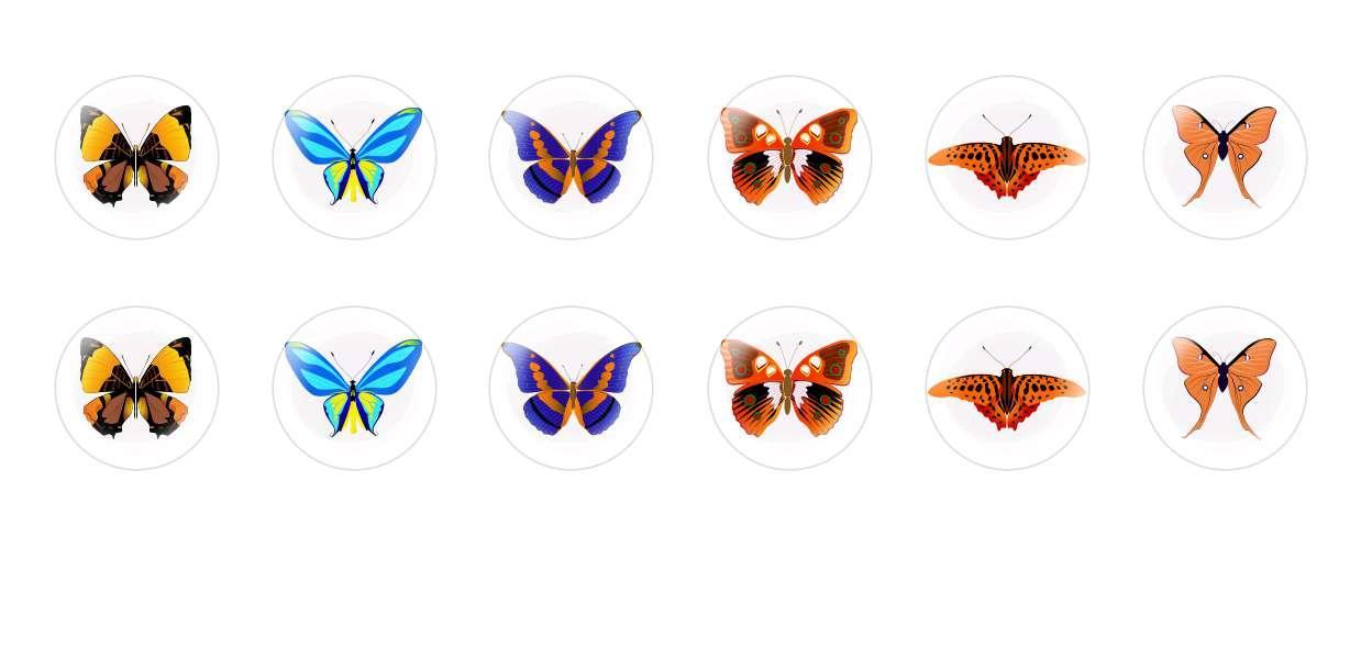 Handmade Round Domed Czech Glass Cabochons Butterflies 1