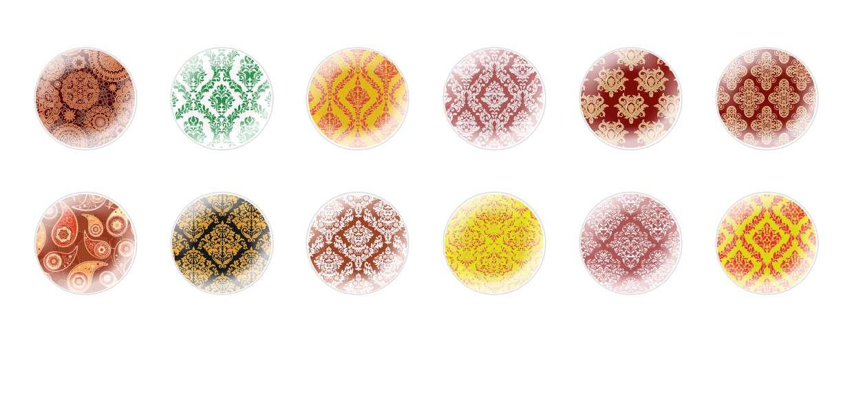 Handmade Round Domed Czech Glass Cabochons Persian Patterns for $6.92 from Czech Beads Exclusive