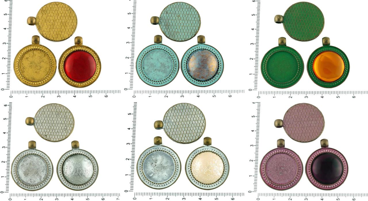 2pcs Czech Patina Antique Bronze Tone Large Round Pendant Cabochon Settings Blank Tray Metal Base Fit Cameo 20mm for $2.64 from Czech Beads Exclusive
