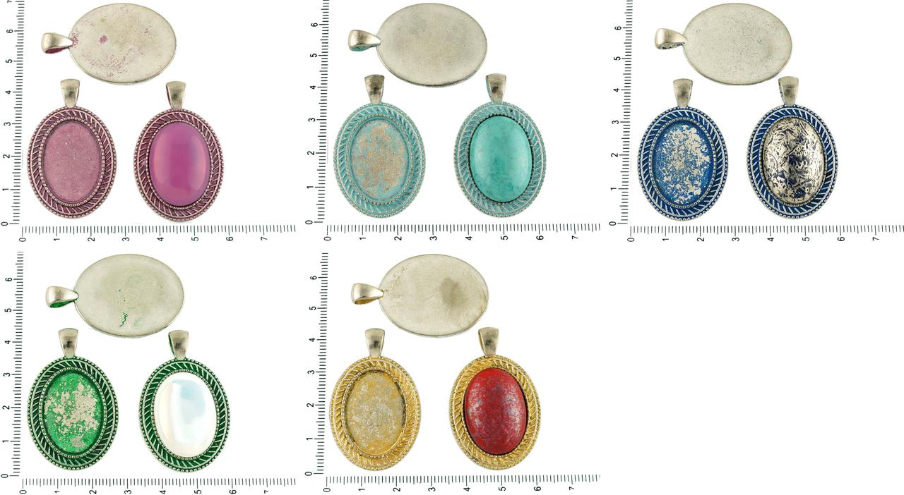 2pcs Czech Patina Antique Silver Tone Large Oval Pendant Stripe Cabochon Setting Blank Tray Metal Base Fit Cameo 18mm X 25mm for $2.81 from Czech Beads Exclusive