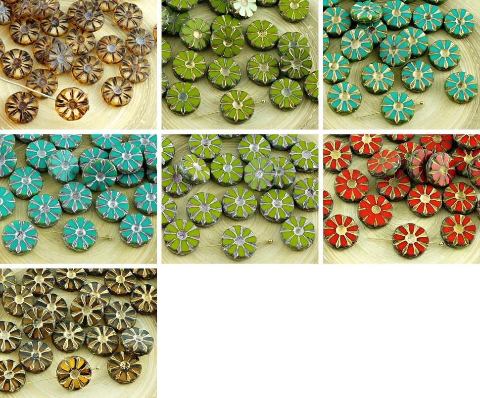 8pcs Picasso Table Cut Flower Flat Coin Czech Glass Beads
