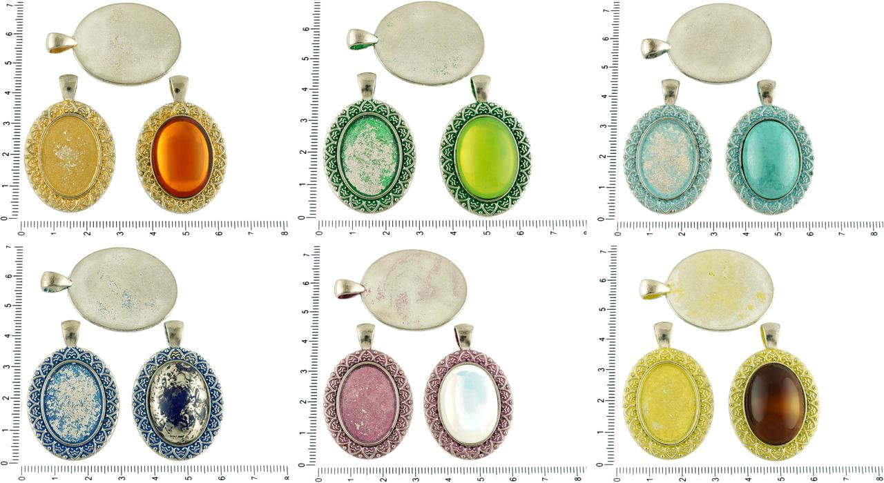2pcs Czech Patina Antique Silver Tone Large Oval Pendant Leaf Cabochon Setting Blank Tray Metal Base Fit Cameo 18mm X 25mm for $2.99 from Czech Beads Exclusive