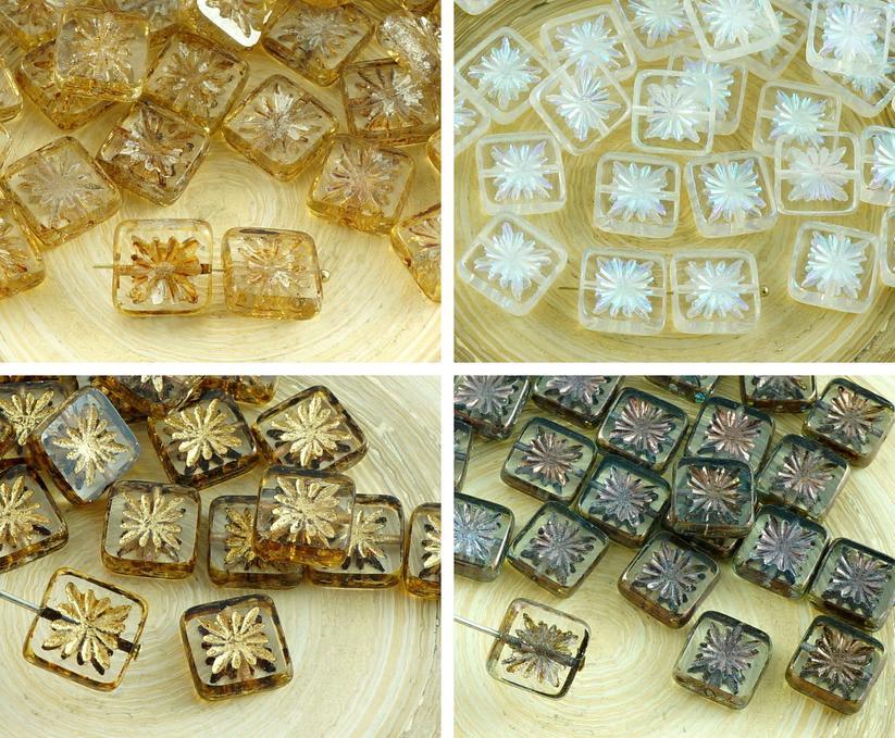 8pcs Rustico Tavolo Di Finestra Taglio Fiore Piatto Quadrato Ceca Perle Vetro 10mm per $ 2.95 da Czech Beads Exclusive