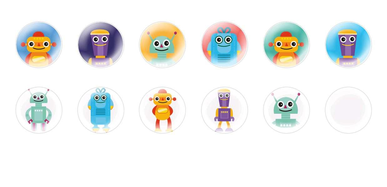 Handmade Round Domed Czech Glass Cabochons Robots for $6.93 from Czech Beads Exclusive