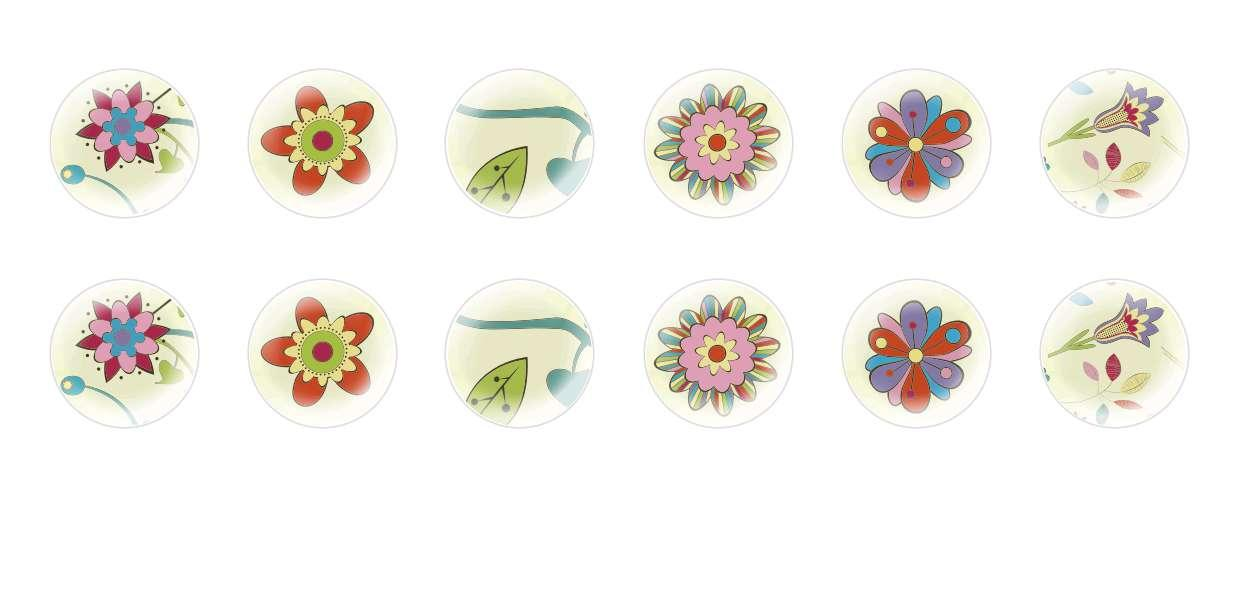 Handmade Round Domed Czech Glass Cabochons Abstract Flowers for $7.29 from Czech Beads Exclusive