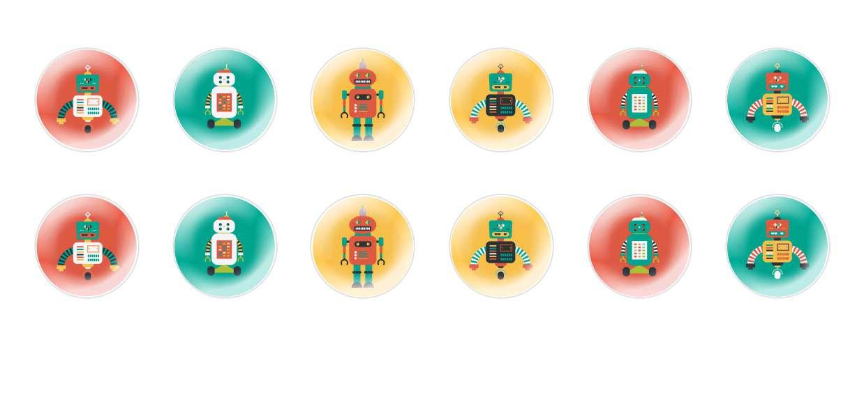 Handmade Round Domed Czech Glass Cabochons Retro Robots for $6.93 from Czech Beads Exclusive