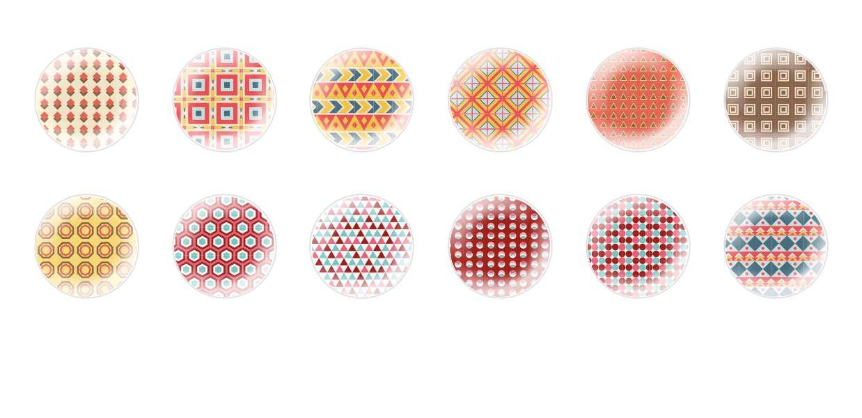Handmade Round Domed Czech Glass Cabochons Indian Patterns for $7.29 from Czech Beads Exclusive