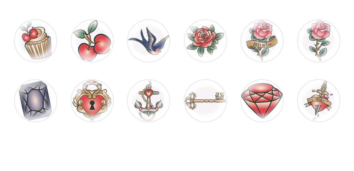 Handmade Round Domed Czech Glass Cabochons Tattoo for $7.29 from Czech Beads Exclusive