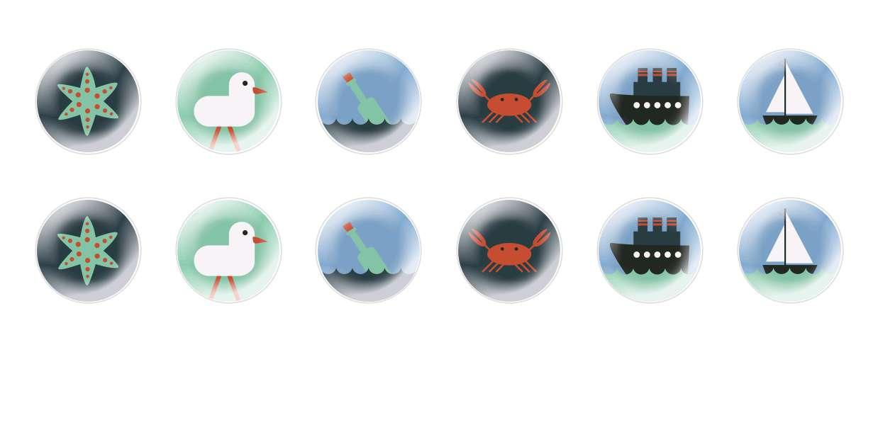 Handmade Round Domed Czech Glass Cabochons Sea Signs for $7.29 from Czech Beads Exclusive