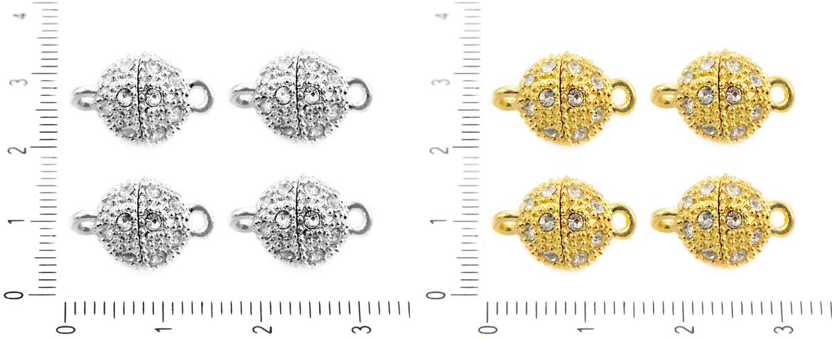 1pc Silver Magnetic Clasp With CZ Micro PaveCubic Zirconia Crystals Rhinesto...