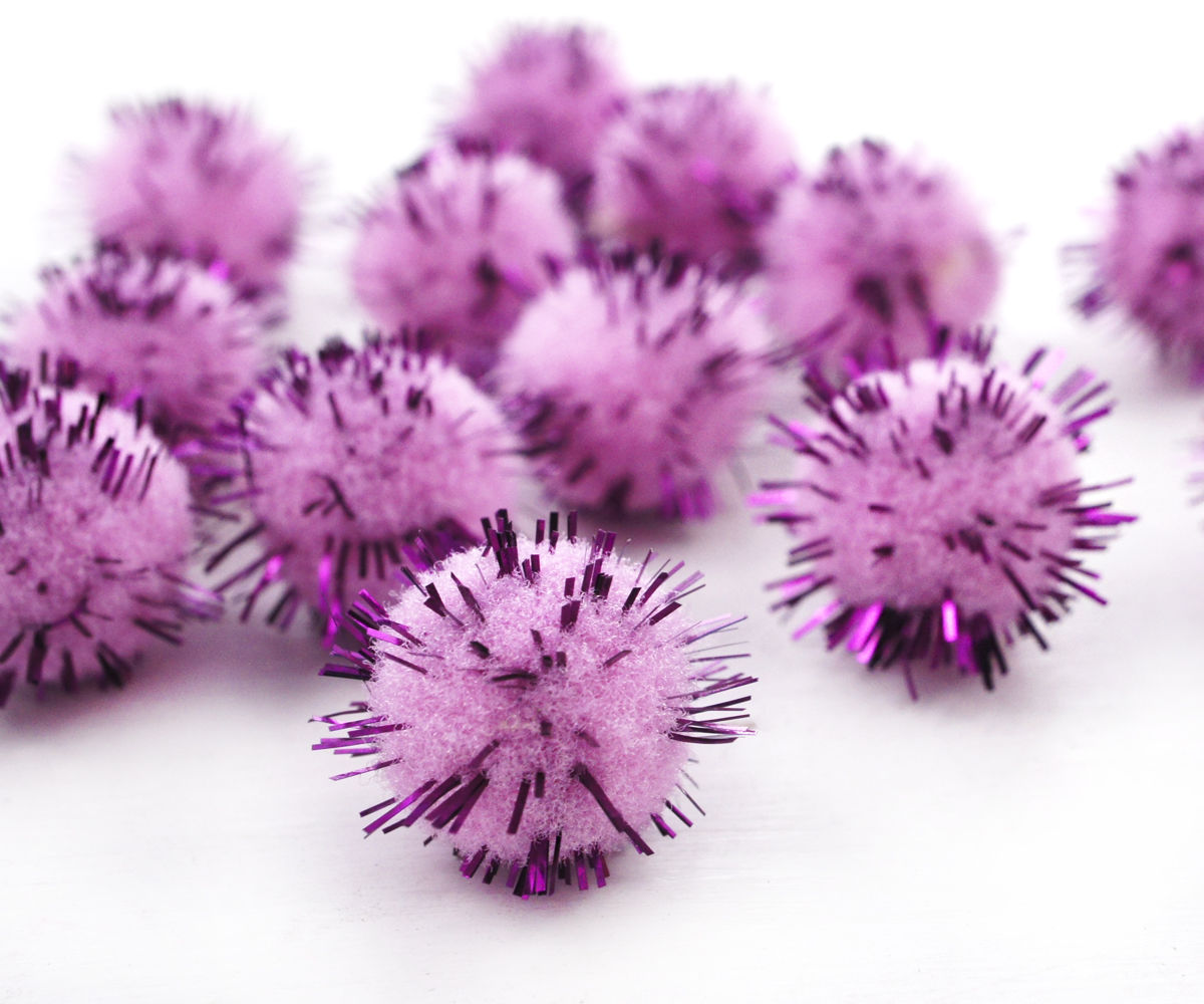 Beading Supplies Pendants Charms 60pcs Pink Purple Fluffy