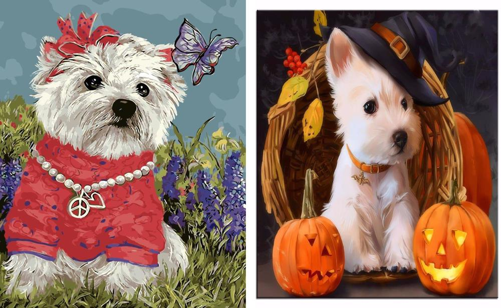 1pc White West Highland Terrier Puppy Westie Dog Pet Animal Acrylic Diy  Painting By Number Hobby Kit Home Wall