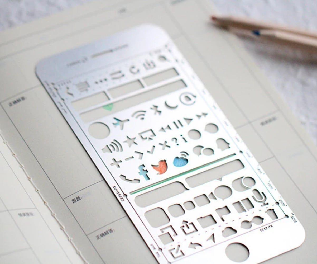 1pc Iphone 6s Emoji Metal Template Ruler Diy Cards Scrapbooking Hollow  Drawing Graffiti Design Kids Children Art Card School