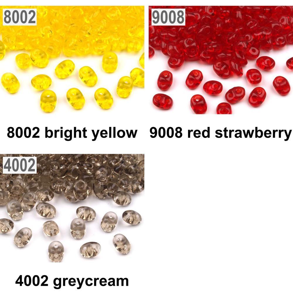 10g Czech SuperDuo Twin Beads Transparent Yellow Amber