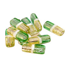 Fine Silver Green Yellow Lampwork Handmade Czech Glass Flat Tube Beads Bohemian Set Solid Silver Christmas 25mm x 19mm 2pcs for $4.3 from Czech Beads Exclusive