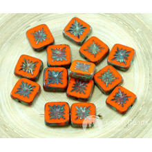 8pcs Picasso Orange Rustic Halloween Window Table Cut Flat Flower Square Kiwi Czech Glass Beads 10mm x 10mm for $2.53 from Czech Beads Exclusive