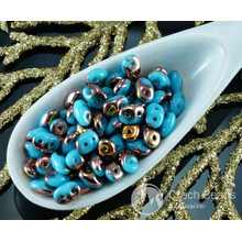 20g Turquoise Blue Gold Capri SUPERDUO Czech Glass Seed Beads Two Hole Super Duo 2.5mm x 5mm for $4.51 from Czech Beads Exclusive