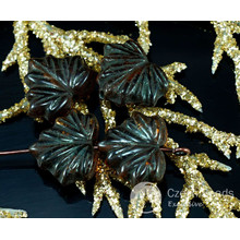 Brown Black Lined Czech Glass Maple Leaf Beads Carved Halloween 11mm x 13mm 12pcs for $2.37 from Czech Beads Exclusive