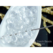50pcs Crystal Clear Czech Glass Small Teardrop Beads 4mm x 6mm for $2.24 from Czech Beads Exclusive