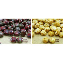 30pcs Picasso Brown Opaque Preciosa Candy Round Domed 2 Two Hole Coin Weaving Czech Glass Beads 8mm for $2.55 from Czech Beads Exclusive