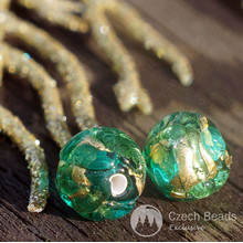 2pcs Green Gold Lampwork Czech Glass Beads Round Handmade Set Solid Gold 24K Christmas 8mm for $3.26 from Czech Beads Exclusive