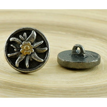1pc Flower Czech Findings Matte Aged Antique Silver Gold Small Bohemian Button Handmade 15mm for $2.94 from Czech Beads Exclusive