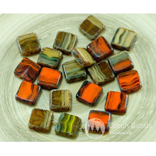 8pcs Picasso Brown Orange Striped Rustic Window Halloween Table Cut Flat Square Czech Glass Beads 10mm x 10mm for $2.78 from Czech Beads Exclusive